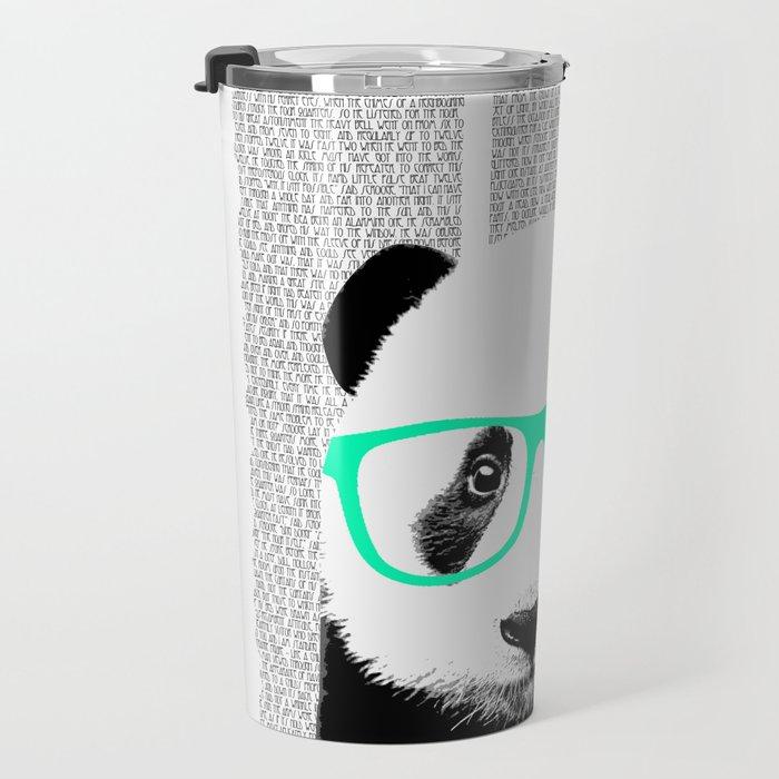 Panda with teal glasses Travel Mug