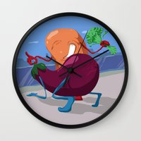 erotic Wall Clocks featuring Erotic Eggplant by Rui Rodrigues