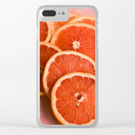 Grapefruit on Pink Clear iPhone Case