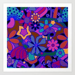 70's Psychedelic Garden in Cool Jeweltone Art Print
