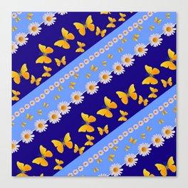 BLUE ART YELLOW BUTTERFLIES & WHITE DAISIES  DIAGONAL STRIPES Canvas Print