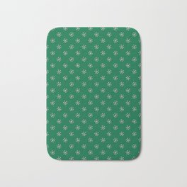 Cotton Candy Pink on Cadmium Green Snowflakes Bath Mat