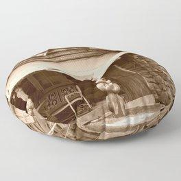 Old Log Cabin Floor Pillow