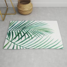 Emerald Palm Fronds Watercolor Rug