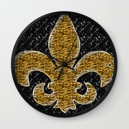 Black and Gold Fleur De Lis Wall Clock