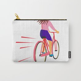 Girl Riding Vintage Bicycle Retro Carry-All Pouch