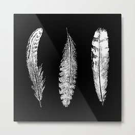 Feather Trio | Black and White Metal Print