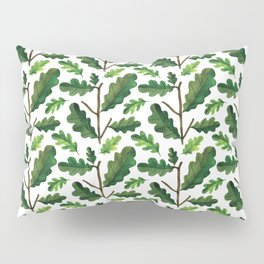 Modern hand painted forest green watercolor oak leaves Pillow Sham