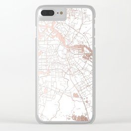 Amsterdam White on Rosegold Street Map Clear iPhone Case
