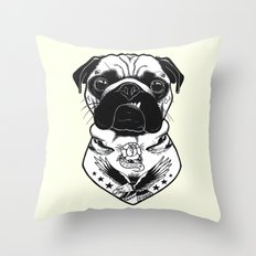 Dog - Tattooed Pug Throw Pillow
