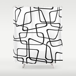 Mid Century Black And White Pattern Shower Curtain