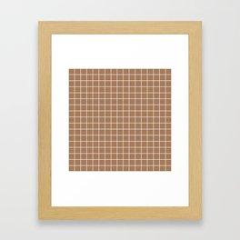 Café au lait - brown color -  White Lines Grid Pattern Framed Art Print