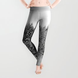 Winter Wanderlust Woods II - Snow Capped Forest Nature Photography Leggings
