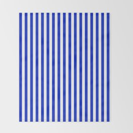 Cobalt Blue and White Vertical Deck Chair Stripe Throw Blanket
