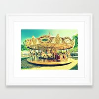 carousel Framed Art Prints featuring Carousel Merry-G0-Round by Whimsy Romance & Fun