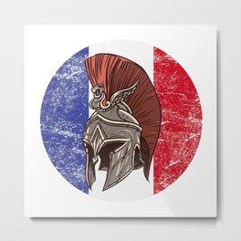 France French Spartan  TShirt Warrior Shirt Flag Gift Idea Metal Print