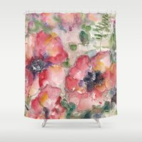 romance Shower Curtains featuring Romance by Kathleen Pequignot Fine Art