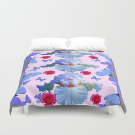 ROSES PASTEL IRISES BLUE-PURPLE BUTTERFLIES ABSTRACT Duvet Cover
