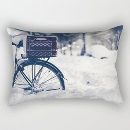 Milk Crate on Bike in Snow Rectangular Pillow