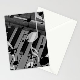music notes white black piano keys Stationery Cards