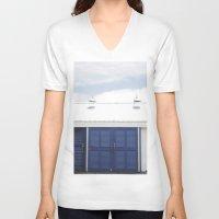 doors V-neck T-shirts featuring Blue Doors by Rachelvb