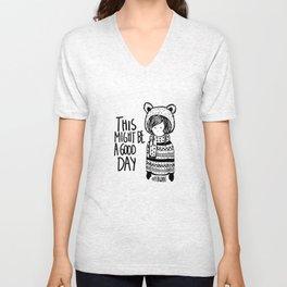 Teddy Bear Boy  Unisex V-Neck