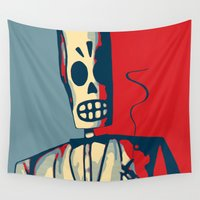 calavera Wall Tapestries featuring Manny Calavera by RBenedetti