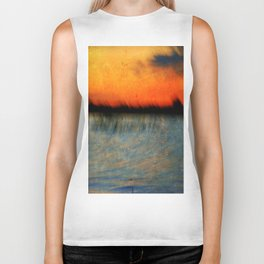 Abstract Sunset Biker Tank