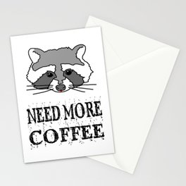 Funny Raccoon Need More Coffee Stationery Cards