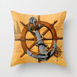 Nautical Ships Wheel And Anchor Throw Pillow