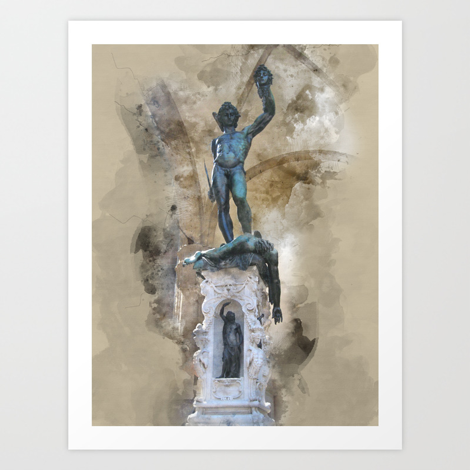 Sculpture Of Perseus With The Head Of Medusa Florence Art Print