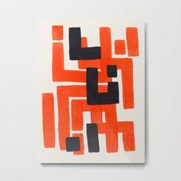Harsh Mid Century Modern Line Pattern Ancient Aztec Ruins Orange Maze Pattern Black Accent Metal Print