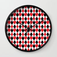 suits Wall Clocks featuring French Suits by Jennifer Agu