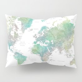 Watercolor world map in muted green and brown Pillow Sham