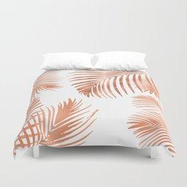 Rose Gold Palm Leaves Duvet Cover