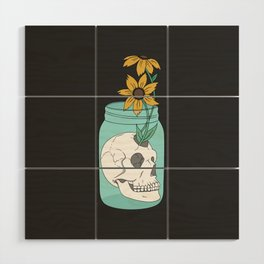 Skull in Jar with Flowers Wood Wall Art