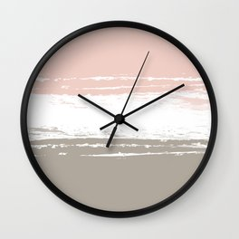 Pastel Color Blocks - Pink and Brown Wall Clock