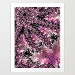Funky Fun Elegant Feminine Girly Pink Black Trendy Stylish Feathers Delicate Intricate Fractal Art Art Print