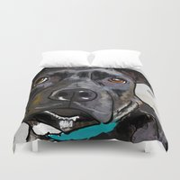 bull terrier Duvet Covers featuring Dog: Staffordshire Bull Terrier by Ed Pires