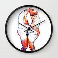 lovers Wall Clocks featuring Lovers by Allegra Jones