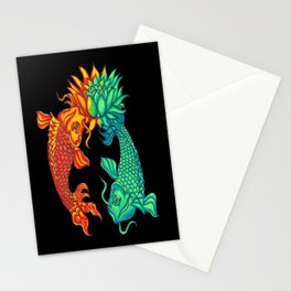 Koi Fish Lotus Stationery Cards