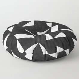 Mid-Century Modern Pattern No.10 - Black and White Concrete Floor Pillow