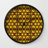 yellow pattern Wall Clocks featuring yellow pattern by dedoma