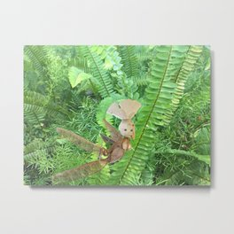 She Flies Around in the Spring Ferns Metal Print