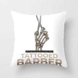 Tattooed Barber Hairstylist Scissor Job Gift Throw Pillow
