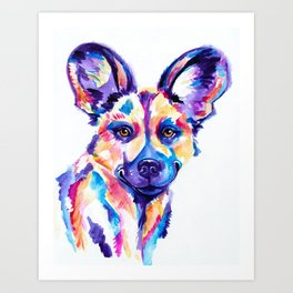 African Wild Dog, Painted Hunting Dog Art Print