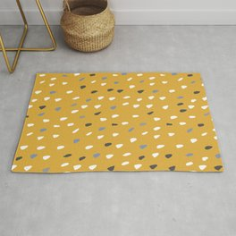 Spotted, Abstract Art, Mustard Yellow, Gray, White Rug