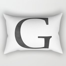 Letter G Initial Monogram Black and White Rectangular Pillow