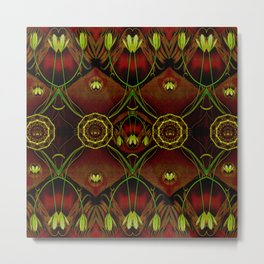 Lether and decorative florals pattern Metal Print