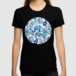 Blush Pink, White and Blue Elephant and Floral Watercolor Pattern T-shirt